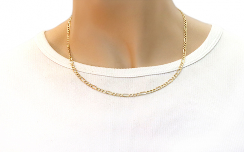 3mm/0.12'' Gold Figaro Chain - IZ3667 - on a mannequin