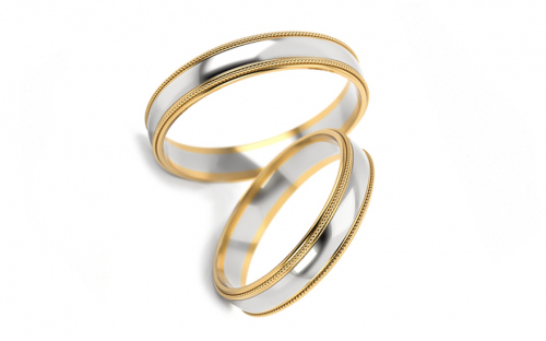 4mm/0.16'' Two Tone Wedding Bands - STOB241