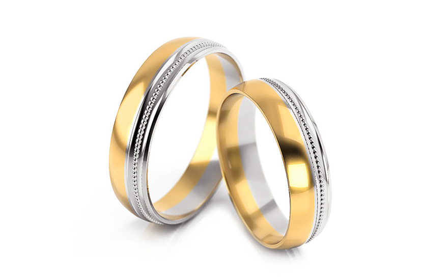 5mm/0.20'' Two Tone Wedding Bands - STOB254