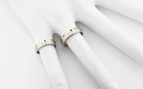 5mm/0.20'' Yellow and White Gold Wedding Bands - RYOB151