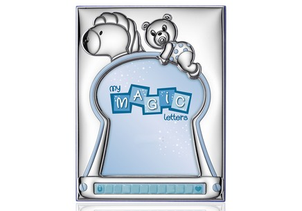 Silver plated photo frame with blue teddy bear