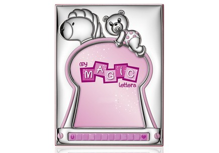 Silver plated photo frame with pink teddy bear
