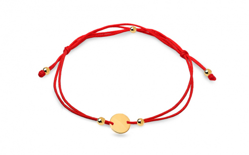 Red cord bracelet with gold plate - IZ10879M