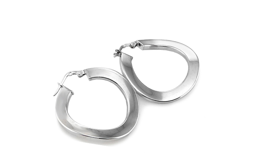Attractive Sterling Silver Hoop Earrings - IS273