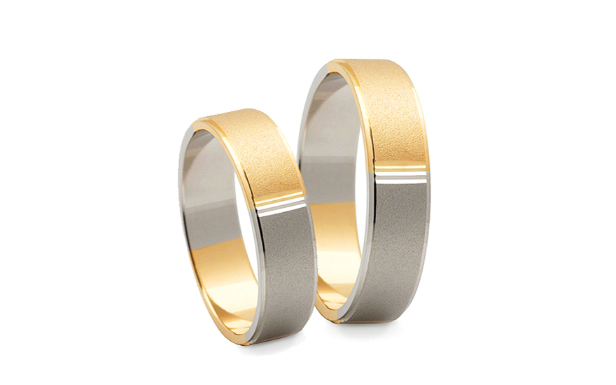 Bicolour wedding bands width 5 mm - STOB174