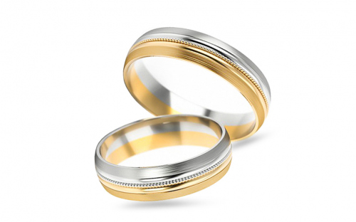Bicolour wedding bands width 5 mm - STOB251