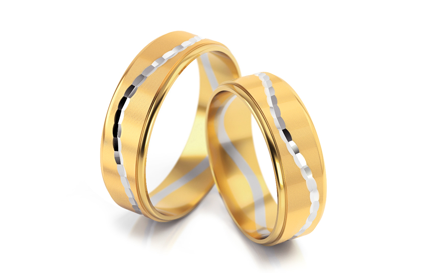 Bicolour wedding bands width 6 mm - STOB171