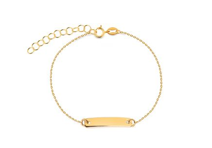 Gold children's bracelet with a plate for engraving