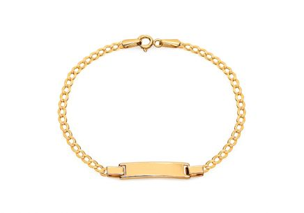 Gold children's bracelet with a plate for personalization