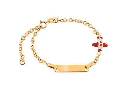 Gold childrens bracelet with airplane and engraving plate