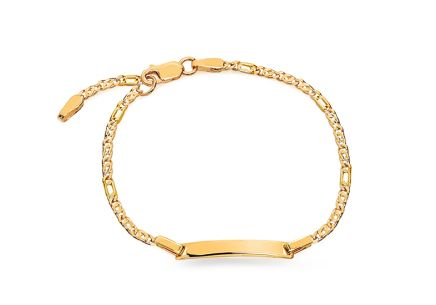 Gold children's bracelet with plate