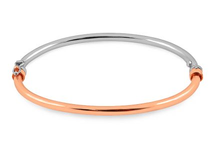 Silver hoop bracelet with rose gold-plated