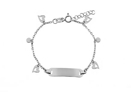 Silver children's bracelet with plate and hearts