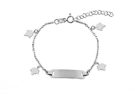 Silver children's bracelet with plate and leaves