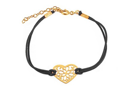 Gold plated Silver black cord Heart bracelet