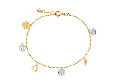 Two-toned Gold bracelet with zircon and pendants