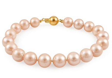 Bracelet of multi color Biwa pearls