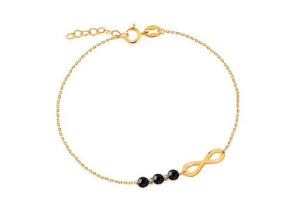 Elegant gold bracelet with black stones Eternity