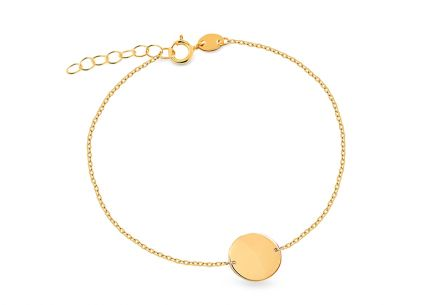 Gold bracelet with engraving plate