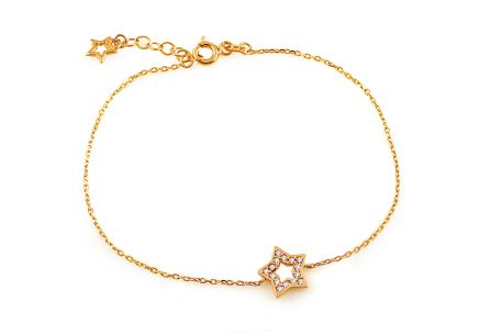 Gold bracelet with star and zircons