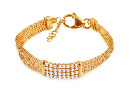 Gold-plated silver multi layer snake chain bracelet with zircons
