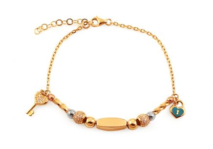 Gold Tri Coloured Bracelet with Zircons and Charms Palmyra