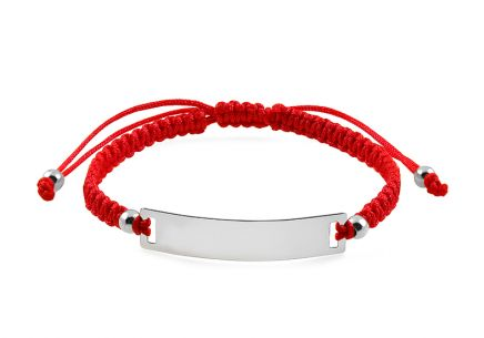 Childrens red rope bracelet with silver plate