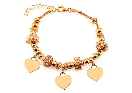 Palmyra - exclusive gold plated silver  bracelet with heart pendants