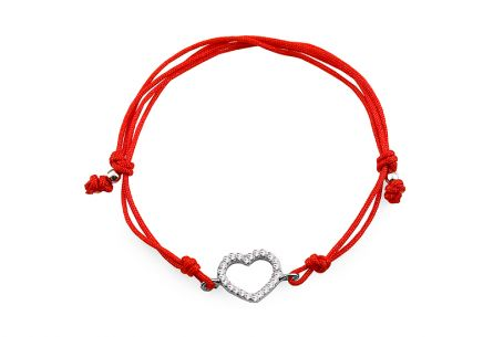 Red string silver bracelet Heart with zircons