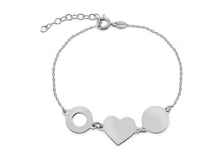 Sterling Silver Bracelet Heart and Wheels