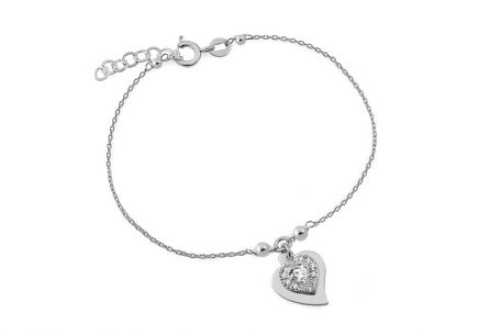 rubber and Silver bracelet with heart decorrated zircon