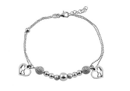 Silver bracelet with beads and hearts