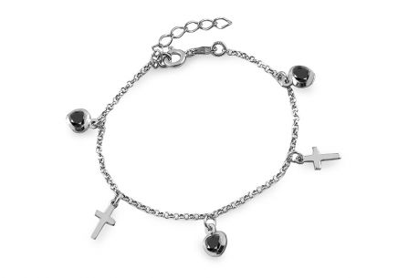 Silver bracelet with crosses and hearts charms