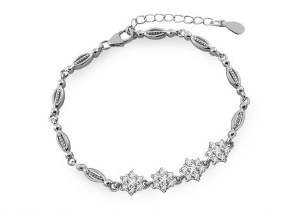 Silver bracelet with flowers and zircons
