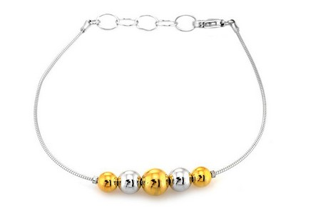 Sterling Silver bracelet with gold beads