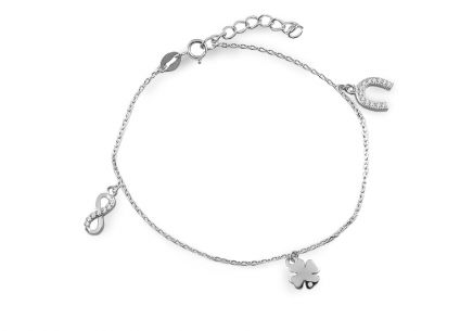 Silver bracelet with charms and zircons