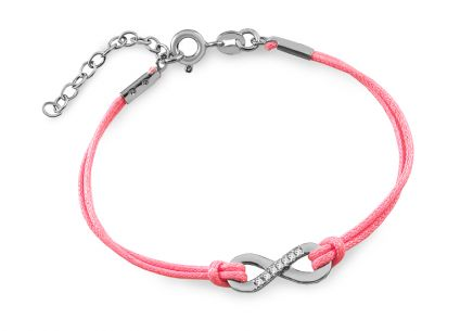 Silver bracelet Infinity with pink lace