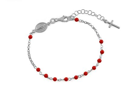 Silver Rosary bracelet with red pearl beads