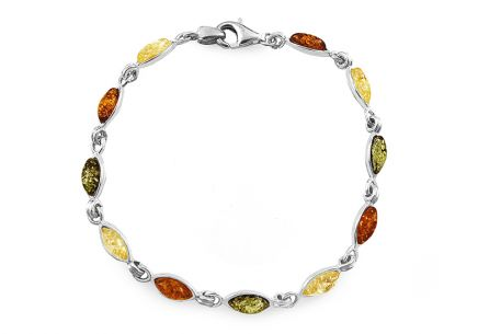 Silver bracelet with tri-color amber