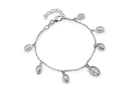 Silver bracelet with charm of Virgin Mary