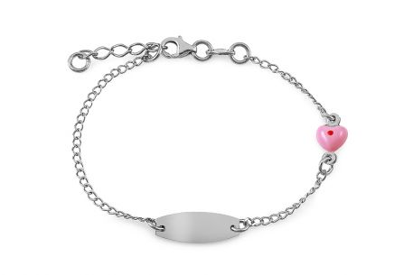 Silver children's bracelet with plate and heart