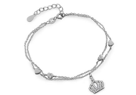 Silver double layers hearts and crown chain bracelet