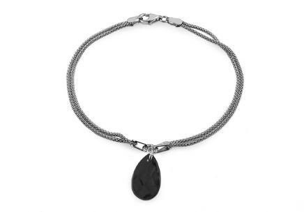 Silver double row bracelet with black drop