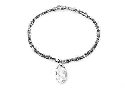Silver double row bracelet with drop