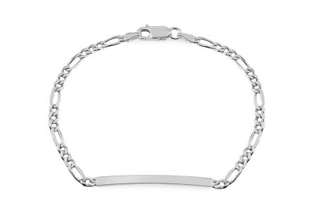 Silver ladies bracelet with engravable plate