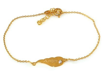 Gold-plate 925Sterling Silver women's bracelet with Angel