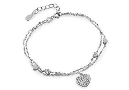 Silver double layers hearts and zircons chain bracelet