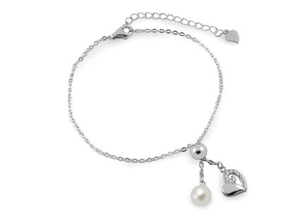 Silver double layers heart and pearl chain bracelet
