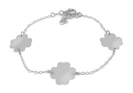 Sterling Silver Bracelet Lucky Four Leaf Clovers