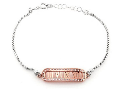 Sterling Silver Bracelet Time with Cubic Zirconia